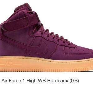 burgundy high top air force ones